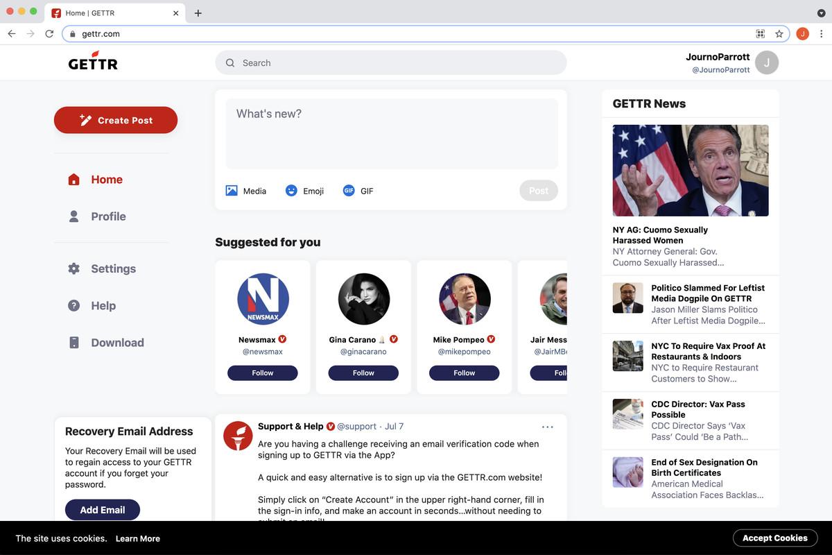 A screenshoot of a GETTR homepage.