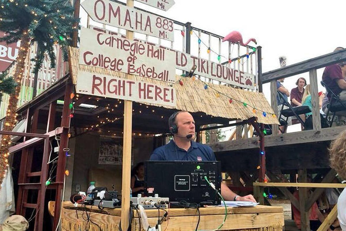 ESPN's Kyle Peterson broadcasting a game from left field lounge last spring.