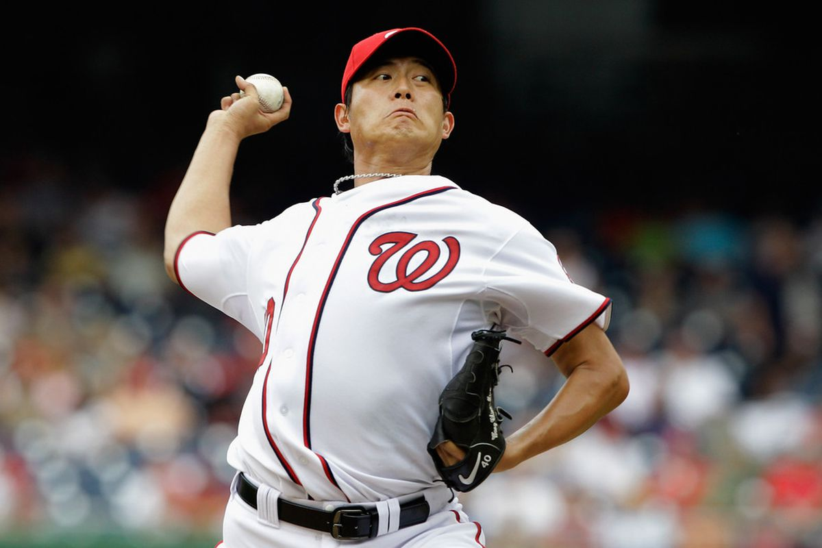 WASHINGTON, DC - AUGUST 03:  Starting pitcher Chien-Ming Wang #40 of the Washington Nationals throws to a Atlanta Braves batter during the first third at Nationals Park on August 3, 2011 in Washington, DC.  (Photo by Rob Carr/Getty Images)
