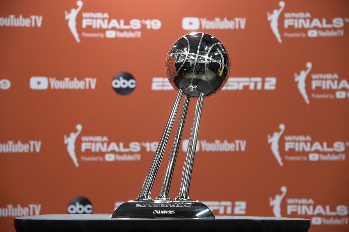 A general shot of the Women's National Basketball Association Champions trophy before Game Three of the 2019 WNBA Finals between the Washington Mystics and the Connecticut Sun on October 6, 2019 at the Mohegan Sun Arena in Uncasville, Connecticut.