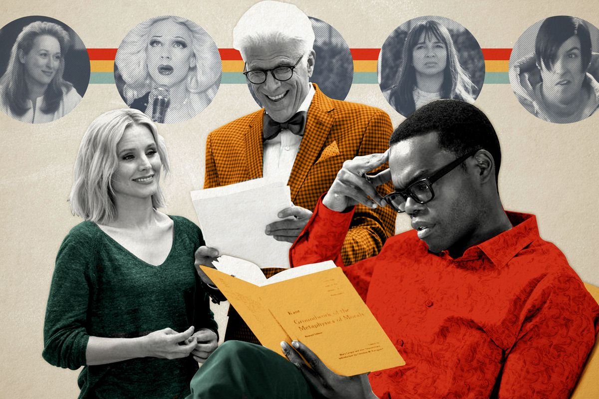 Eleanor, Michael, and Chidi in 'The Good Place'
