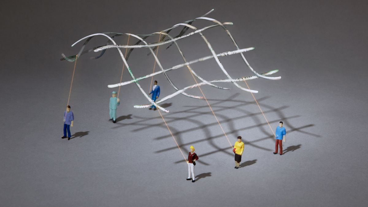 Illustration of people holding strings to a floating, glowing grid