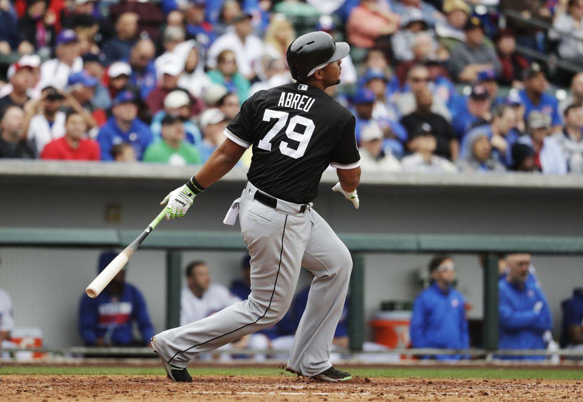 Jose Abreu hits a two-run home run during the fifth inning.