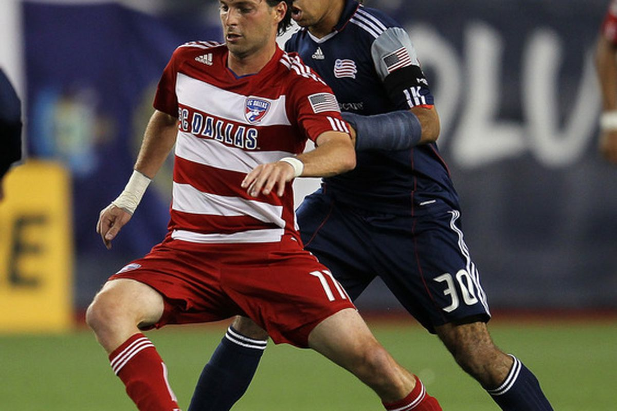 FOXBORO, MA - SEPTEMBER 10: Kevin Alston #30 of the New England Revolution chases Ricardo Villar #11 of the FC Dallas at Gillette Stadium on September 10, 2011 in Foxboro, Massachusetts. (Photo by Jim Rogash/Getty Images)