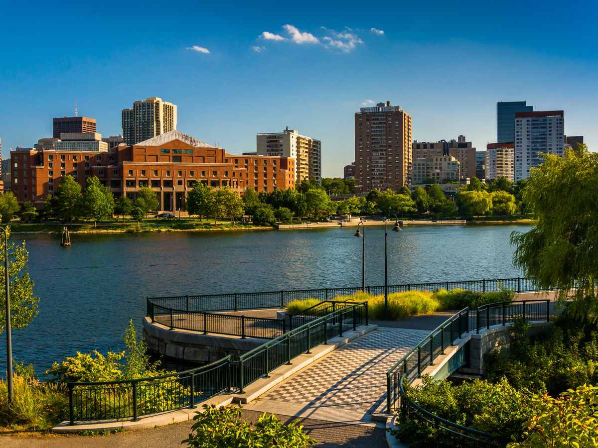 A photo of the view from North Point Park in Cambridge