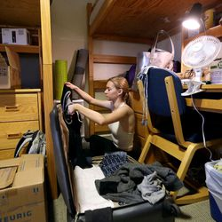 Lauren Hart moves into her dorm, which she shares with two roommates, at the University of Utah in Salt Lake City on Thursday, Aug. 17, 2017.