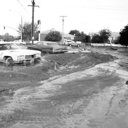 Looking west from Bountiful's Fourth North and Fourth East, Streets look like creek beds. June 1, 1983.