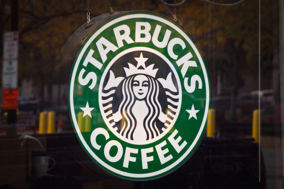 Starbucks logo in store window