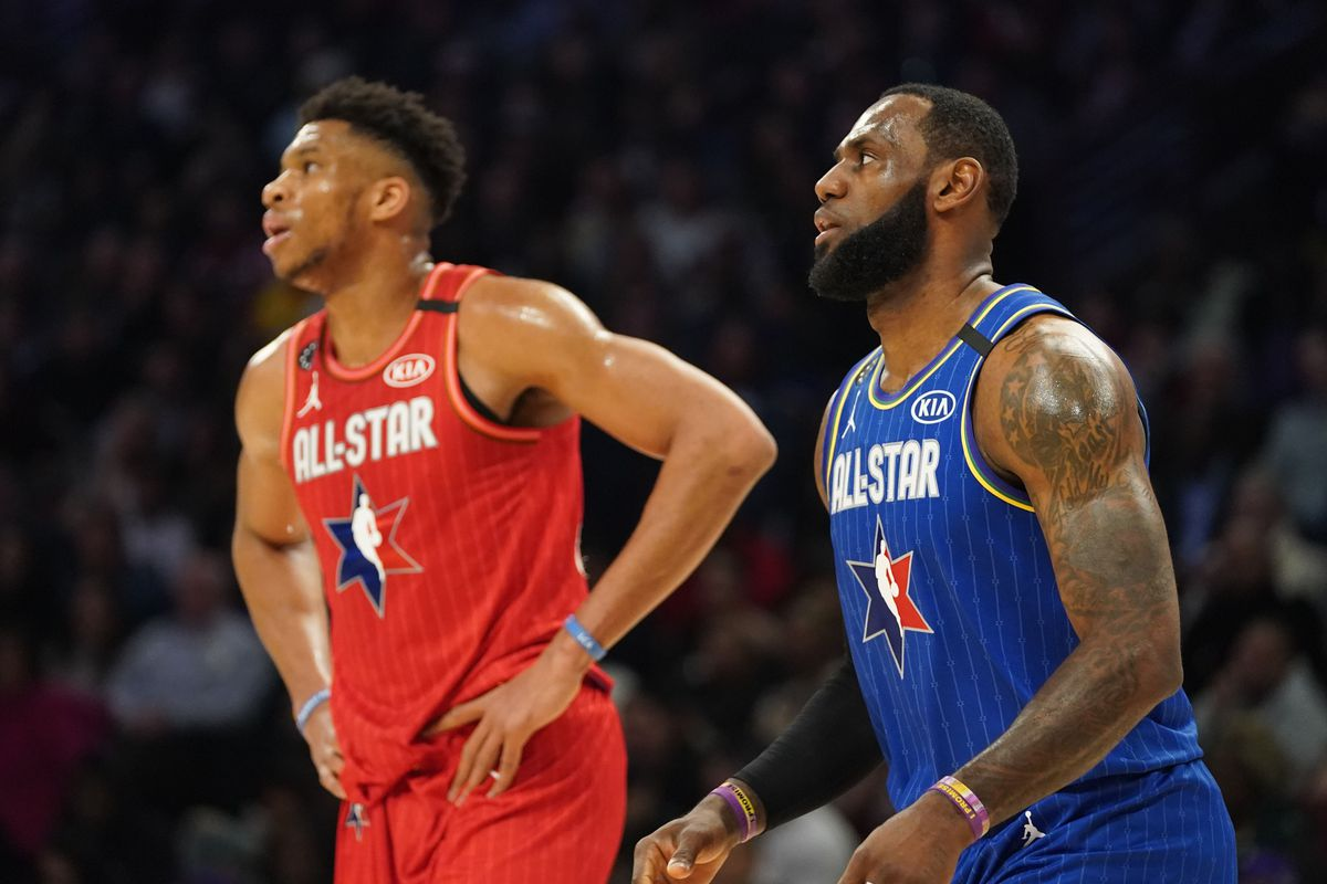 Team Giannis forward Giannis Antetokounmpo of the Milwaukee Bucks and Team LeBron forward LeBron James of the Los Angeles Lakers during the third quarter of the 2020 NBA All Star Game at United Center.