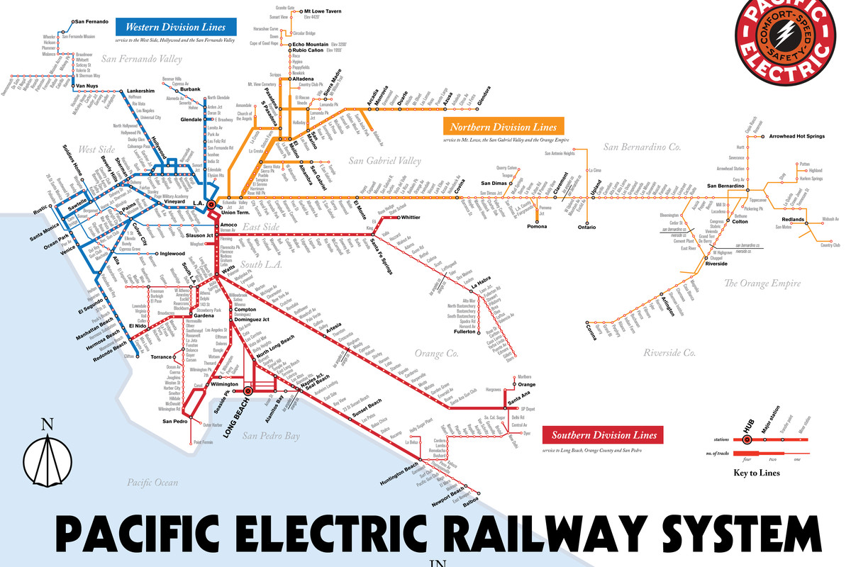 Redline Metro Map Los Angeles.Map Details La S Red Car Streetcar Lines Curbed La