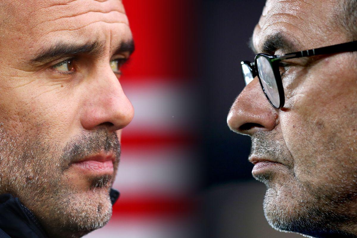 Pep Guardiola and Maurizio Sarri - Manchester City v Chelsea FC - Premier League