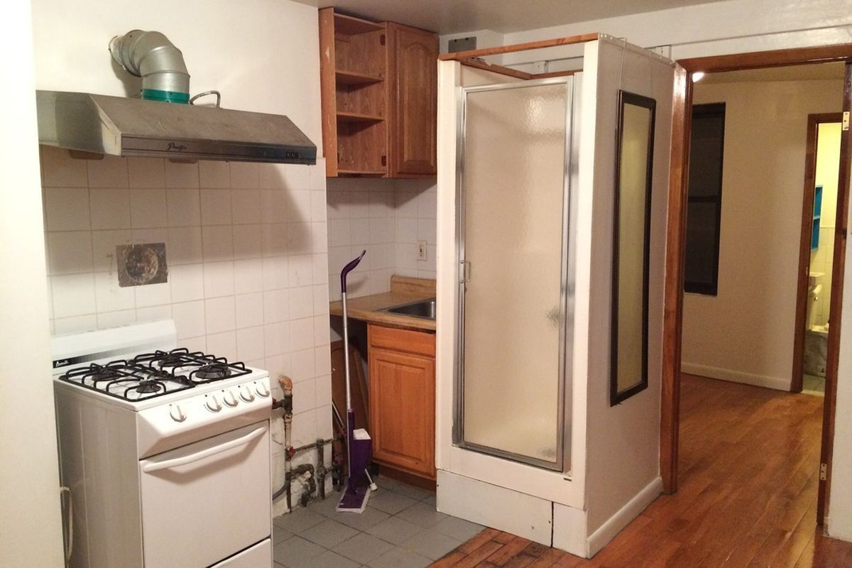someone is paying 1 795 month for this sad kitchen shower curbed ny