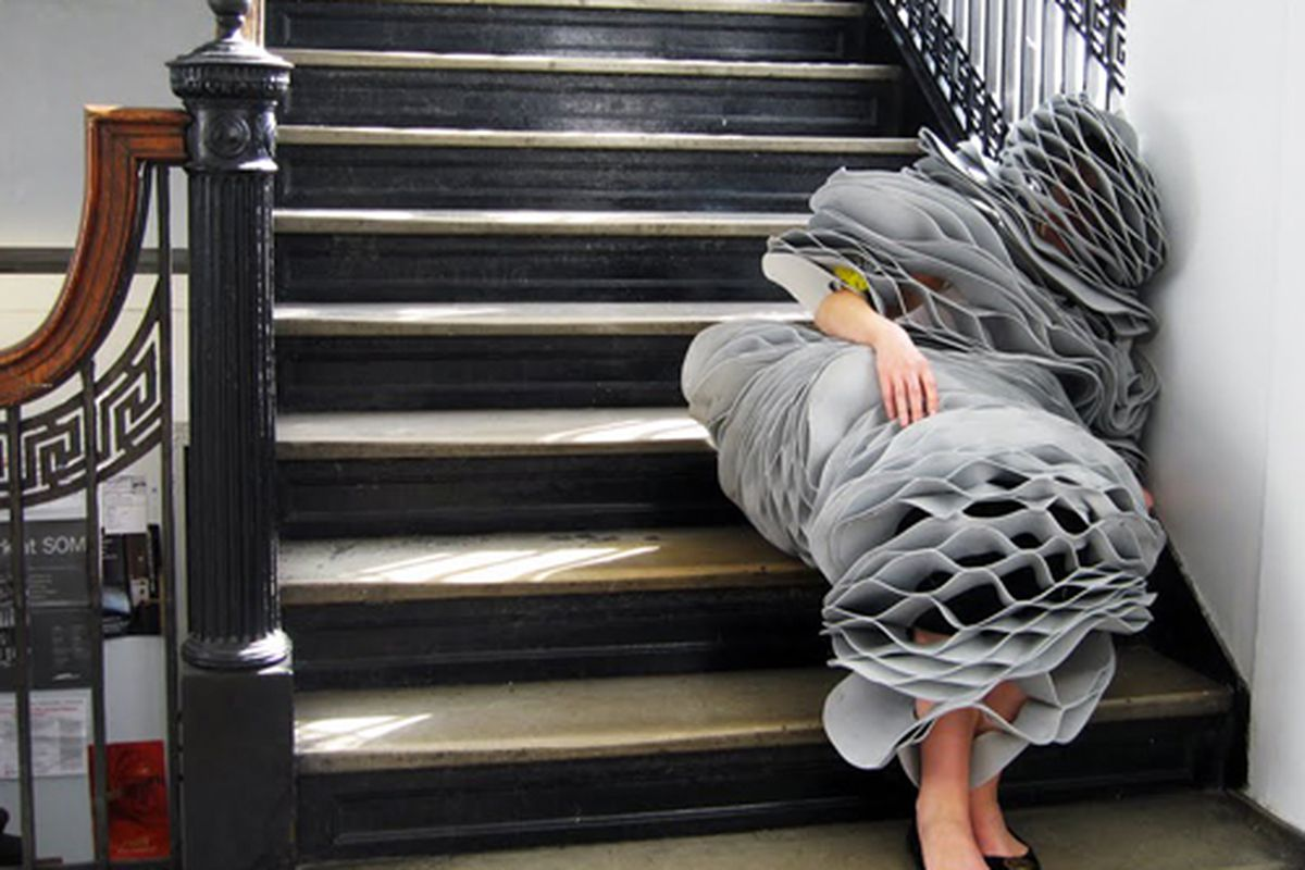 """No, it's not a Lady Gaga costume: behold the sleep suit in action. Image via <a href=""""http://www.designscene.net/2010/01/sleep-suit-by-columbia-university-gsapp.html"""">Design Scene</a>"""