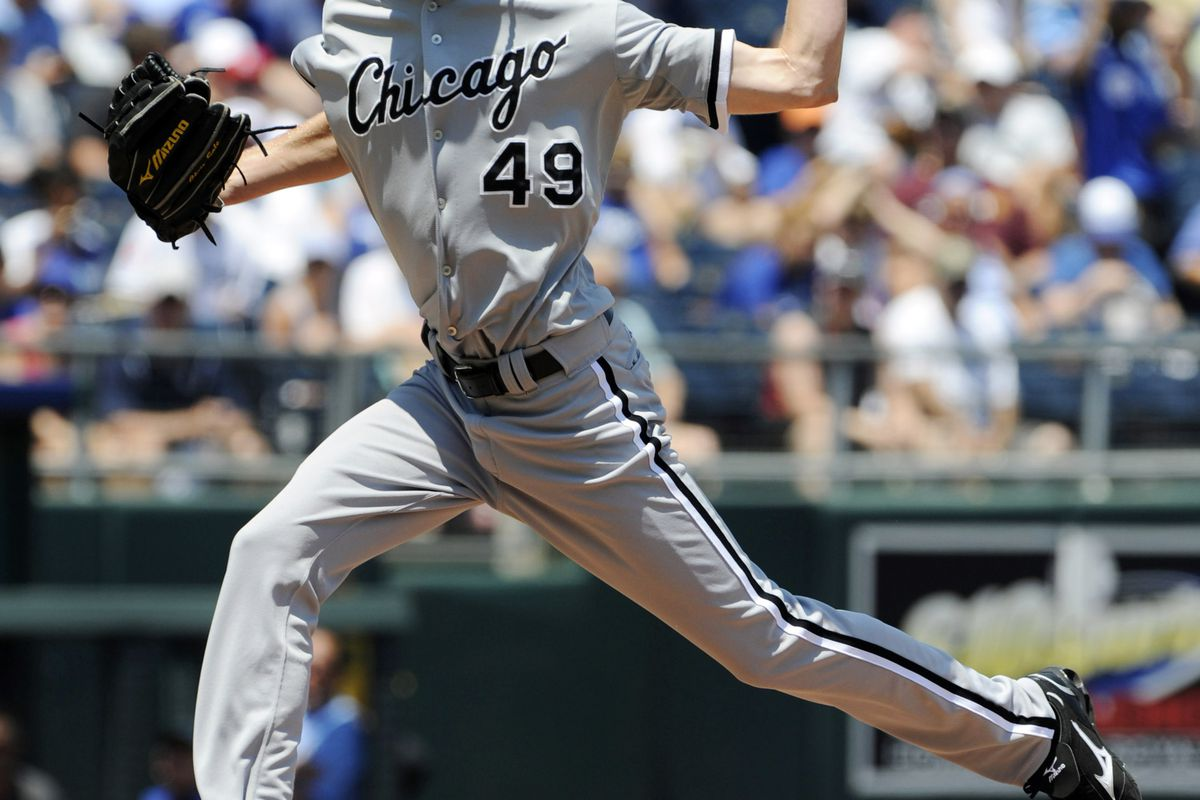 July 15, 2012; Kansas City, MO, USA; Chicago White Sox pitcher Chris Sale (49) delivers a pitch against the Kansas City Royals during the first inning at Kauffman Stadium.  Mandatory Credit: Peter G. Aiken-US PRESSWIRE