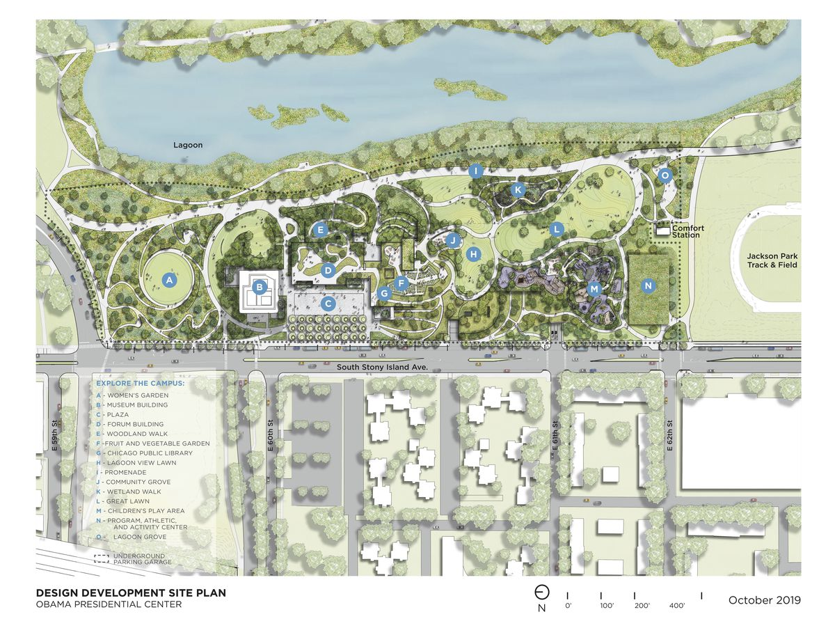 A map of the Obama Presidential Center that shows the new locations of the wetlands and children's area.