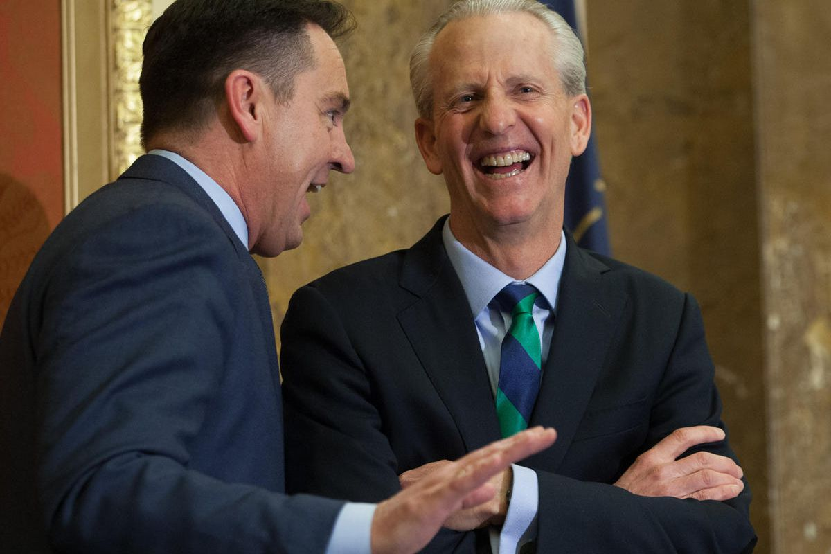 FILE - Speaker Greg Hughes and Senate President Wayne Niederhauser talk prior to Utah Governor Gary R. Herbert, delivering his State of the State address from the House of Representatives at the State Capitol Wednesday, Jan. 27, 2016. Utah GOP leaders hav