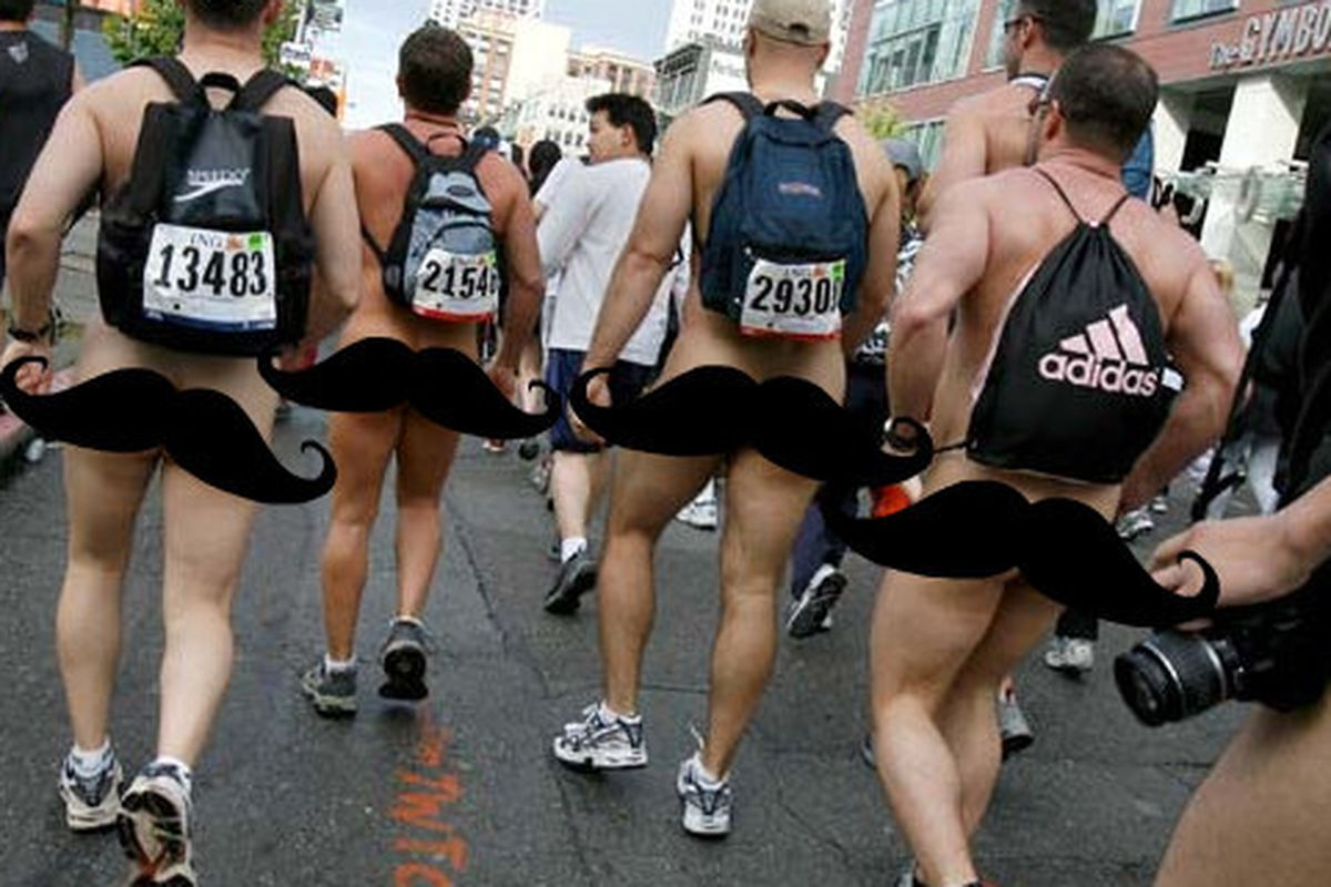 """Where on earth would these guys have put their bibs? Image via <a href=""""http://www.sfgate.com/sports/article/SAN-FRANCISCO-Bay-to-Breakers-race-parties-with-2518494.php#photo-2662188"""">SF Gate</a>, censored by us"""