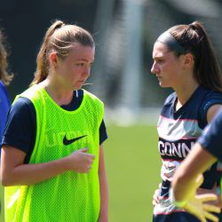 The UConn Huskies take on the Boston College Eagles in a women's college soccer game at Newton Campus Lacrosse & Soccer Field in Newton, MA on August 26, 2018.