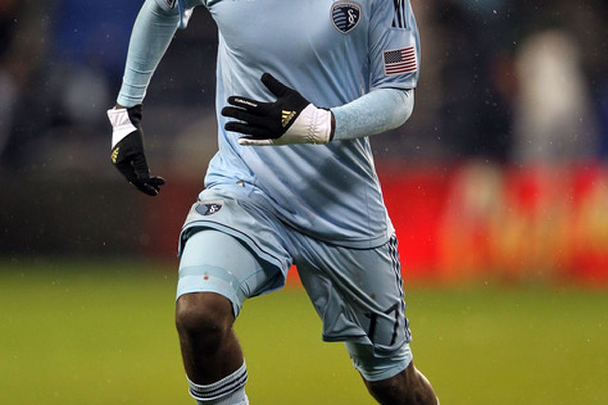 CJ Sapong celebrates another goal, and an MLS Rookie of the Year Award.(Photo by Jamie Squire/Getty Images)