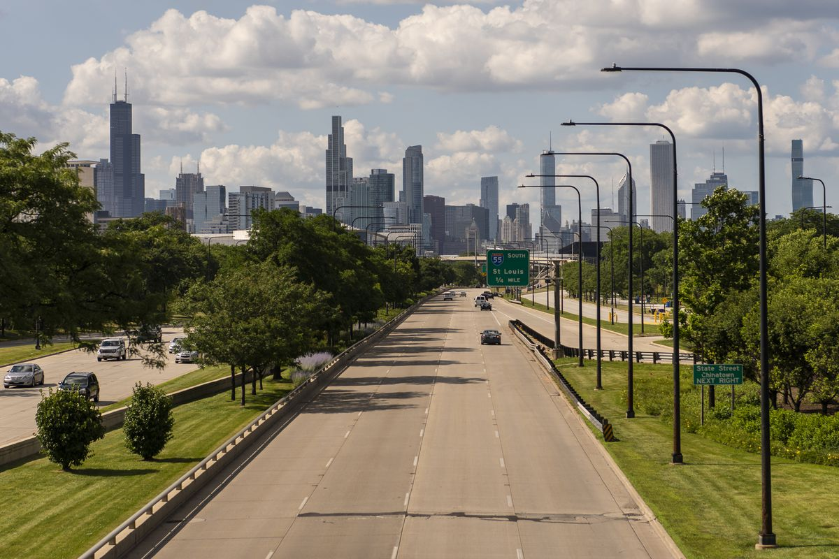 Chicago skyline, seen from 31st Street Bridge over Lake Shore Drive in July 2020.