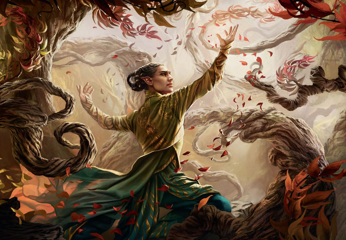 A mage bends to his will, creating a wall around himself. His robes and a cloud of leaves whirl in a magical wind.