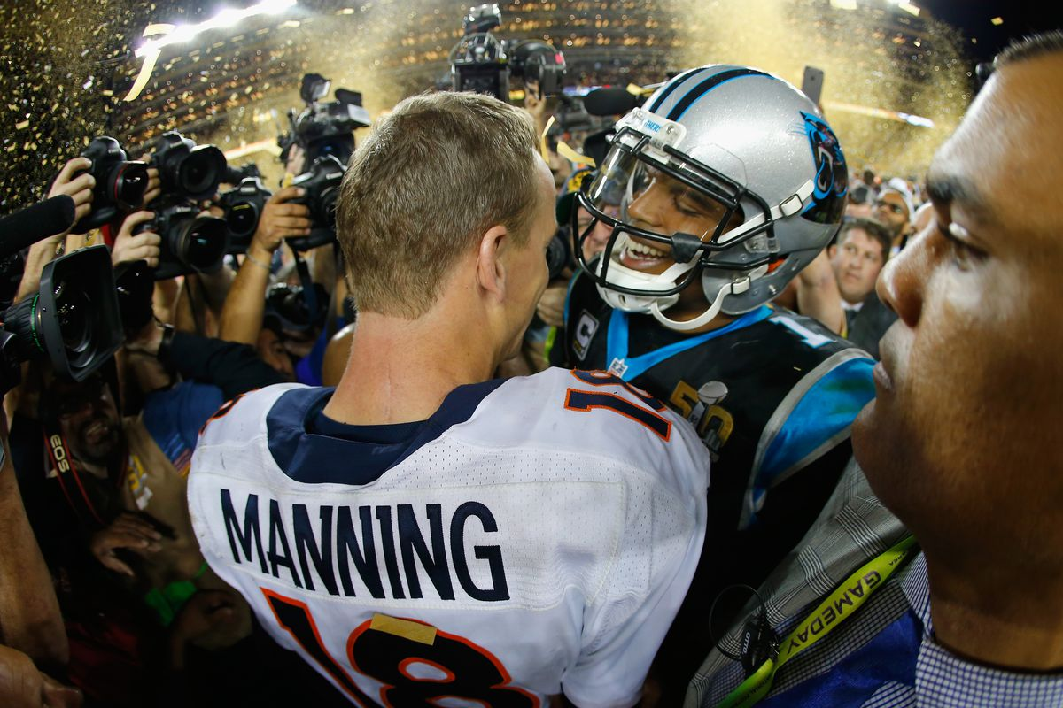 Peyton Manning and Cam Newton congratulate each other after Super Bowl 50.