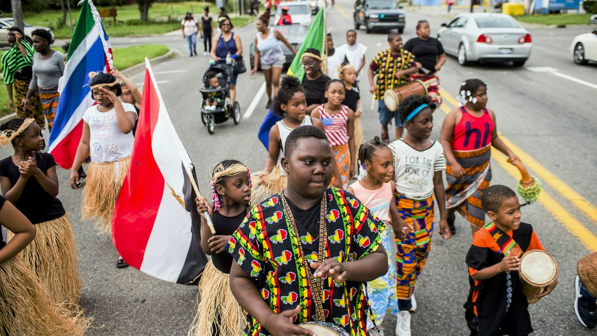 A Juneteenth parade is pictured in Flint, Michigan.