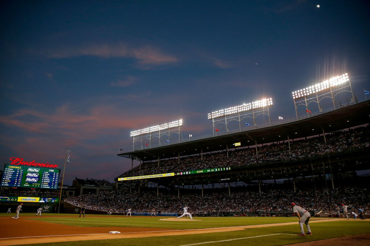 A Chicago Cubs game against the St. Louis Cardinals at Wrigley Field.