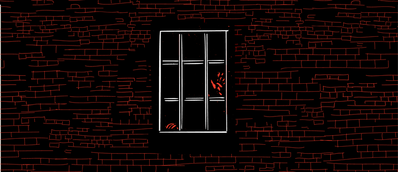 Illustration of a bright red hand in a dark window.