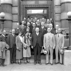 Officials of the Salt Lake Chamber of Commerce gather in front of their building in November of 1933.