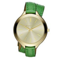 """<b>Michael Kors</b> mid-size slim snake-embossed leather runway watch in green/gold, $160 at <a href=""""http://www.neimanmarcus.com/p/Michael-Kors-Mid-Size-Slim-Snake-Embossed-Leather-Runway-Watch-Green-Golden/prod155810153/ """">Neiman Marcus</a>"""