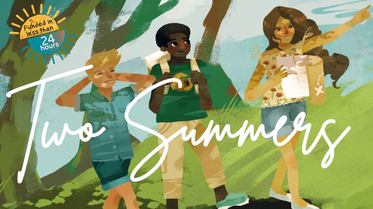 Art showing three teens walking through the woods on a summer day. The sky is blue. One wears a backpack, another carries a map. They're smiling.