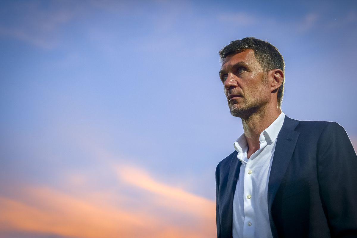 Paolo Maldini, technical director of AC Milan, looks on...