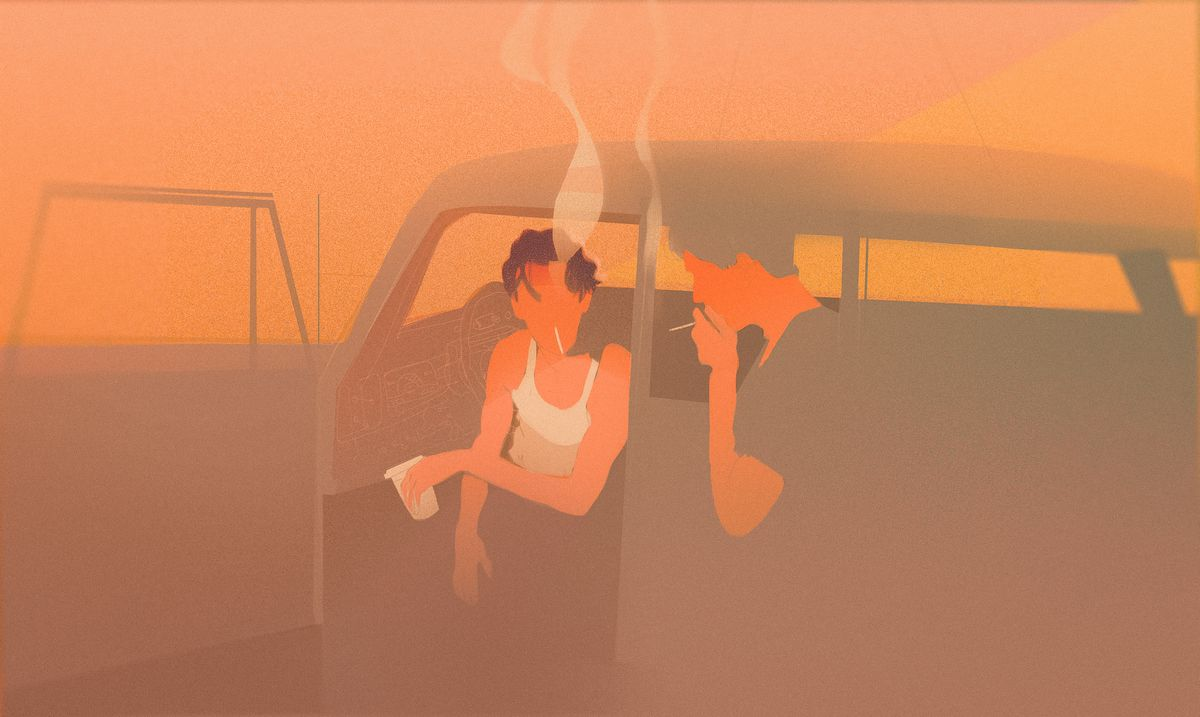 Illustration of a teen boy wearing a white tank top smoking and hanging out of the open drivers' side door of a car.