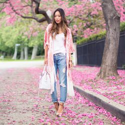 """Aimee of <a href=""""http://songofstyle.blogspot.com/"""">Song of Style</a> is wearing an <a href=""""http://athenaprocopiou.com/?cat=14"""">Athena Procopiou</a> kimono, <a href=""""http://www.7forallmankind.com/pd/p/7493.html"""">7 For All Mankind</a> boyfriend jeans, a C"""