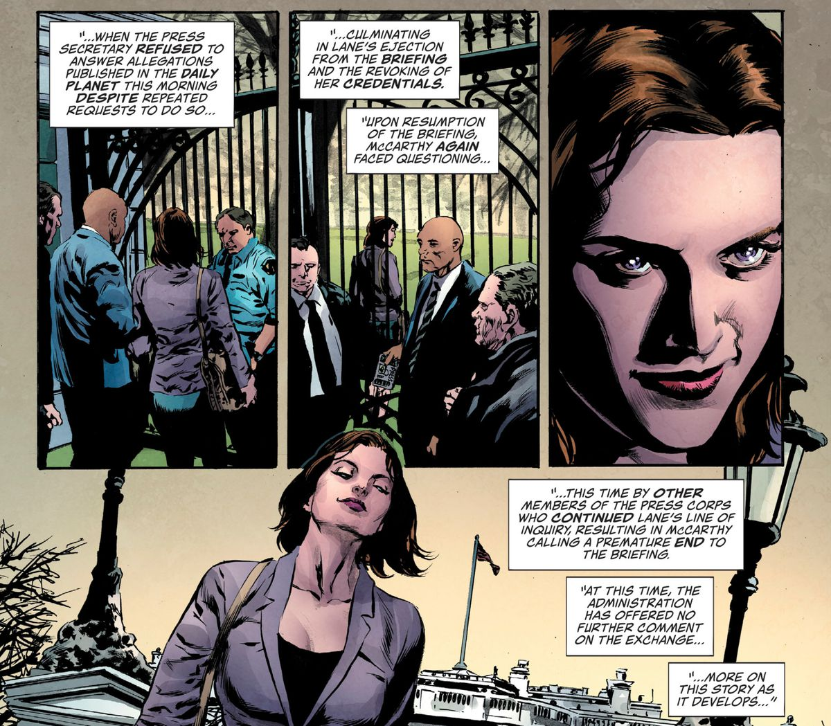 Lois Lane walks away from the White House after having her press credentials revoked for asking too many inconvenient questions in Lois Lane #1, DC Comics (2019).