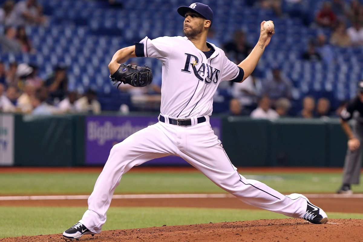 August 21, 2012; St. Petersburg, FL, USA; Tampa Bay Rays starting pitcher David Price (14) throws a pitch in the fourth inning against the Kansas City Royals at Tropicana Field. Mandatory Credit: Kim Klement-US PRESSWIRE
