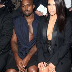 Flashing coordinating cleavage at Lanvin's spring 2015 show in Paris in September 2014.