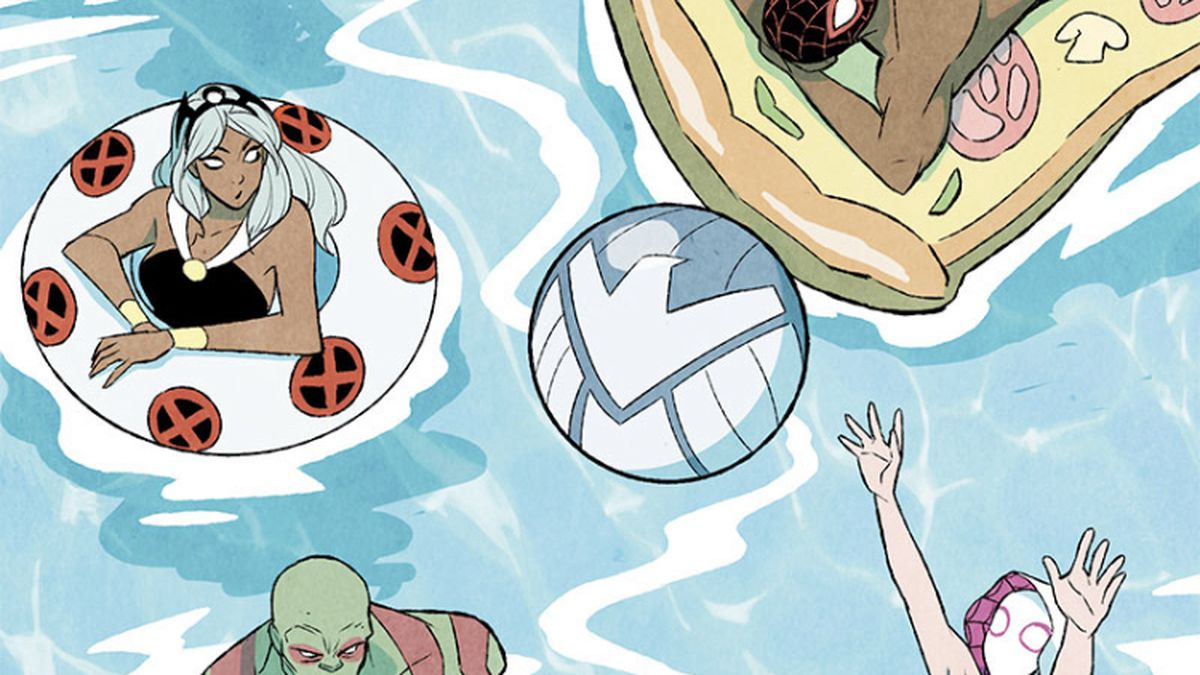 Jane Foster/Thor, Miles Morales/Spider-Man, Storm, Drax, Ghost-Spider, Groot, Rocket Racoon, Black Panther, Ghost Rider, and Doctor Strange chill out in a pool with superhero themed floaties and cute stuff in It's Jeff! (2021).