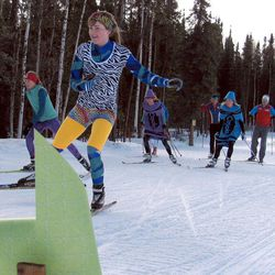 In this April 1, 2012, photo, University of Alaska Fairbanks skier Alyson McPhetres nears the end of the ski trail at Birch Hill Recreation Area at the Ski for Women event in Fairbanks, Alaska.