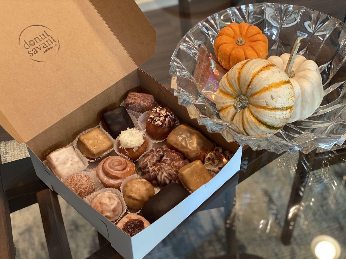 A box of mixed doughnuts from Donut Savant