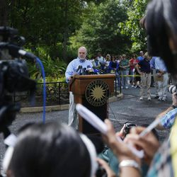 Dennis Kelly, Director of the National Zoo, during a news conference at the National Zoo in Washington the day after it was announced that the Zoo's female giant panda gave birth to a cub, Monday, Sept. 17, 2012, in Fairfax, Va. Mei Xiang gave birth Sunday at 10:46 pm, but the zoo staff has yet to see the new cub because Mei Xiang has built a large nest in her den.