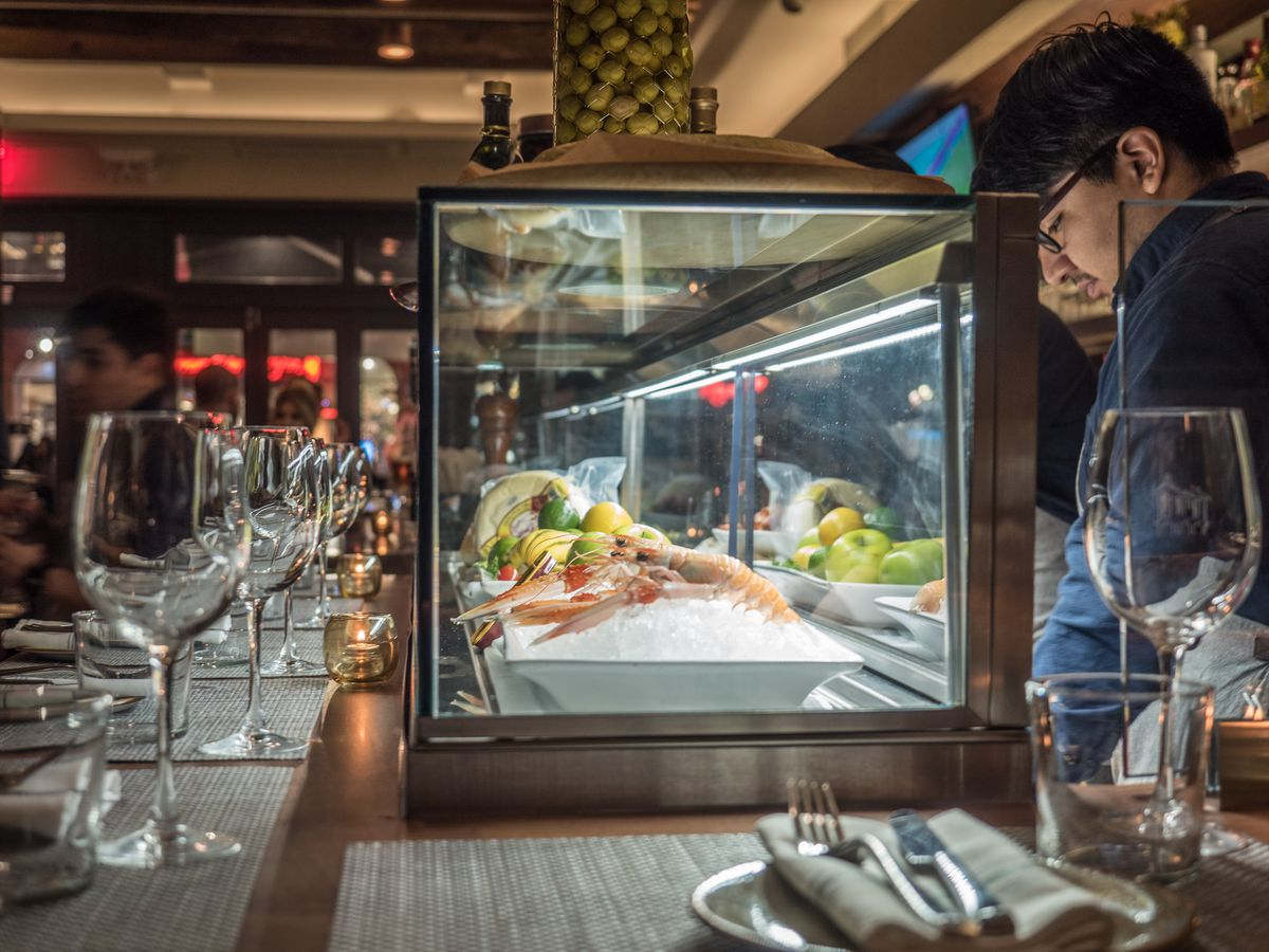 The seafood case at the bar