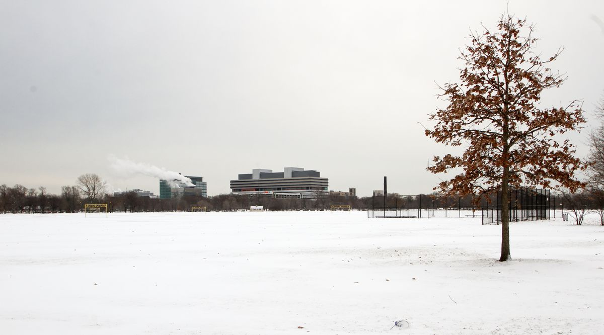 <small><strong>Snow covers Washington Park, a possible site for the Obama Presidental Library and Museum on January 5, 2014. | Jennifer T. Lacey/ For Sun-Times Media</strong></small>