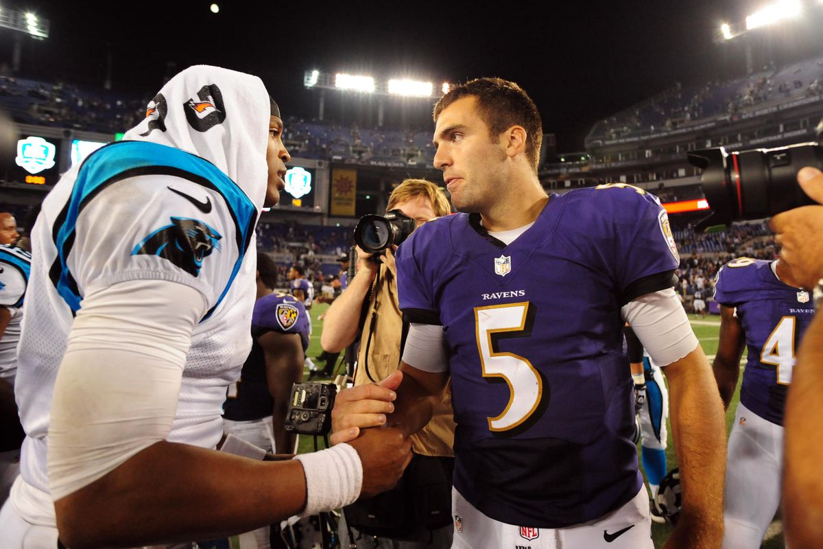 Ravens' QB Joe Flacco shakes hands with Panthers' QB Cam Newton at the end of Thursday's preseason game.