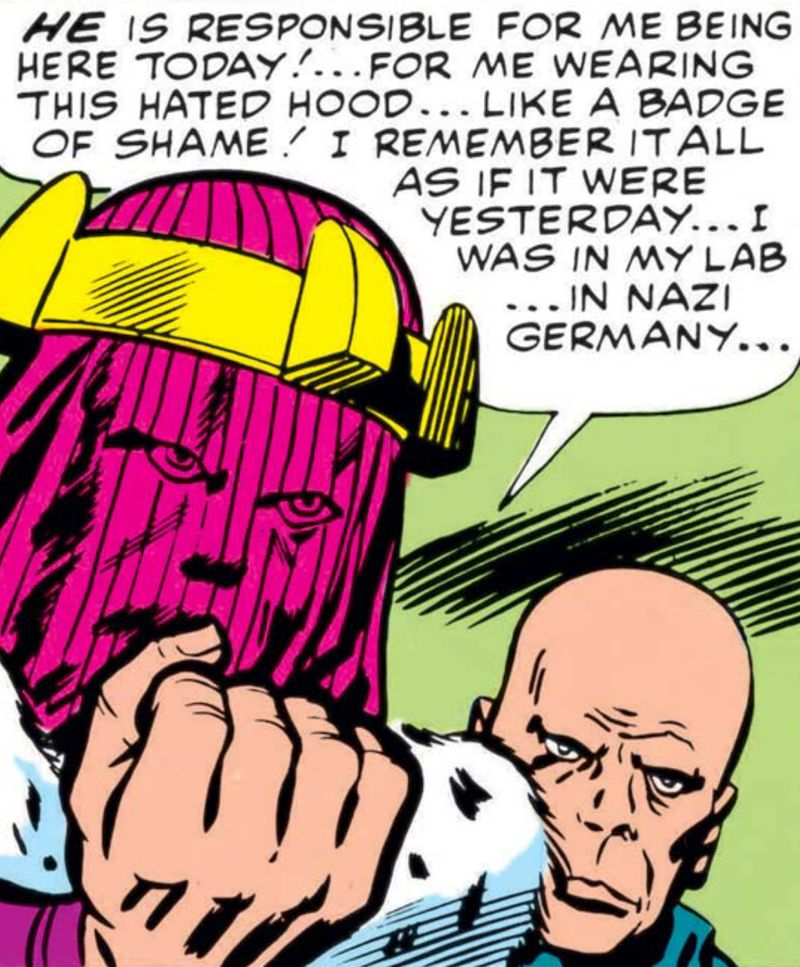 Baron Zemo shakes his fist and monologues angrily, wearing a stupid purple hood with a yellow crown in Avengers #6, Marvel Comics (1964).