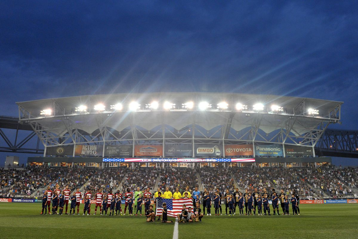 CHESTER, PA- AUGUST 13: The Philadelphia Union and FC Dallas observe the National Anthem before the game at PPL Park on August 13, 2011 in Chester, Pennsylvania. The game ended 2-2. (Photo by Drew Hallowell/Getty Images)
