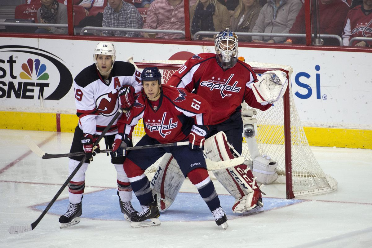 Travis Zajac will set himself up again in the middle tonight, perhaps in front of Brayden Holtby.