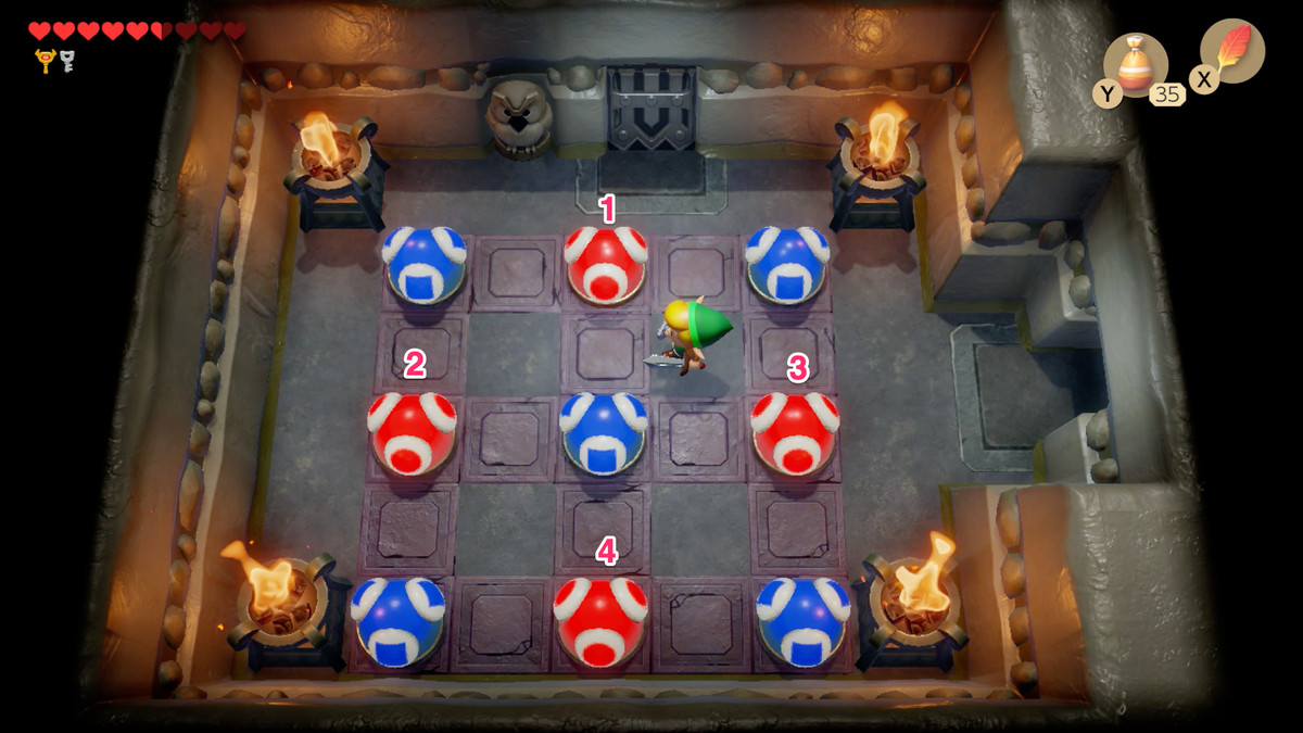 Link's Awakening Color Dungeon third puzzle where you have to turn all the balls blue.
