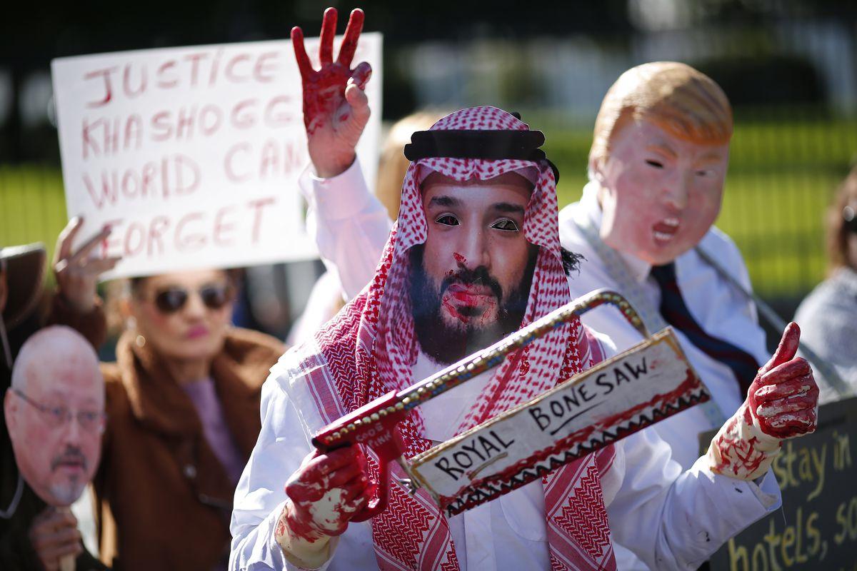 Protesters demonstrate outside of the White House over the killing of Saudi Arabian journalist Jamal Khashoggi.
